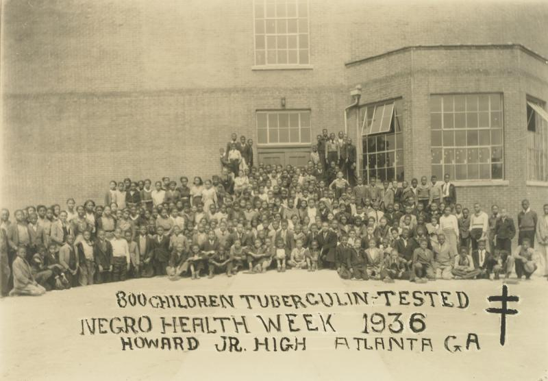 """800 Children Tuberculin Tested, Negro Health Week 1936, Howard Jr. High, Atlanta"""