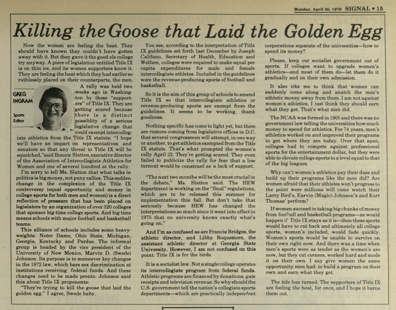 """The Georgia State University Signal, 1979-04-30, """"Killing the Goose that Laid the Golden Egg"""""""