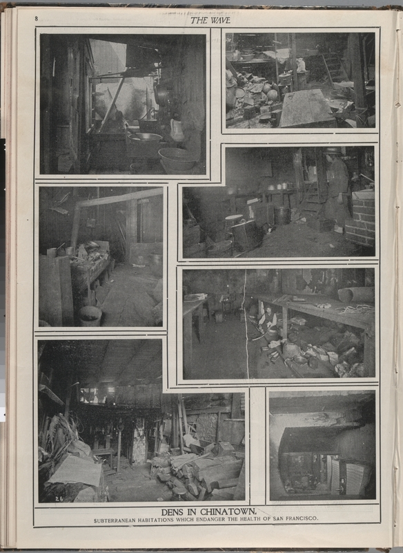 Conditions of housing (dens) in Chinatown published in The Wave, ca. 1900
