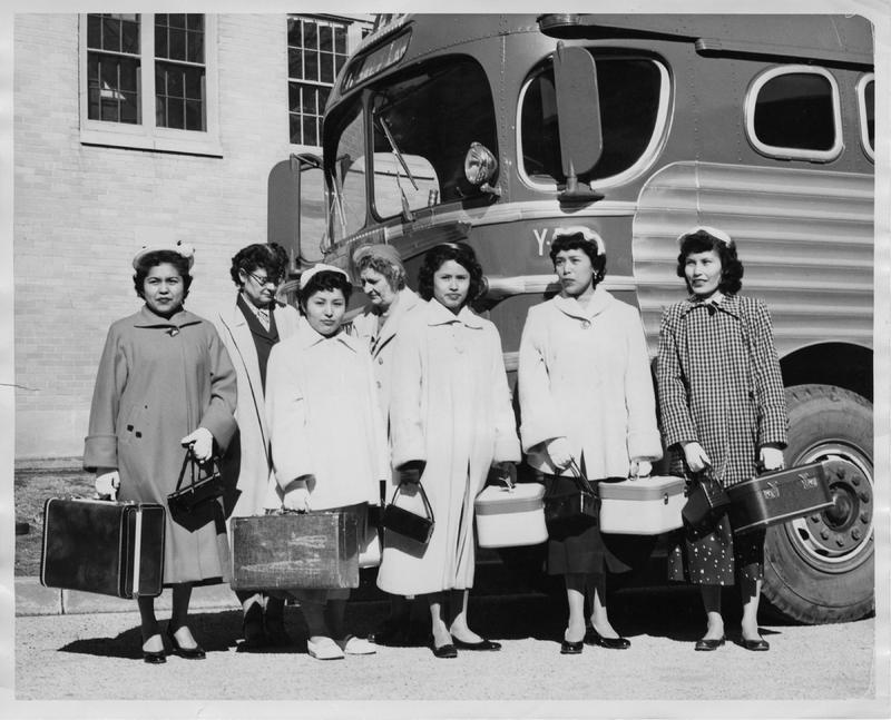 Graduates of the Bureau of Indian Affair's Intermountain Boarding School in Brigham City, Utah, prepare to leave for jobs in Los Angeles, March 1956