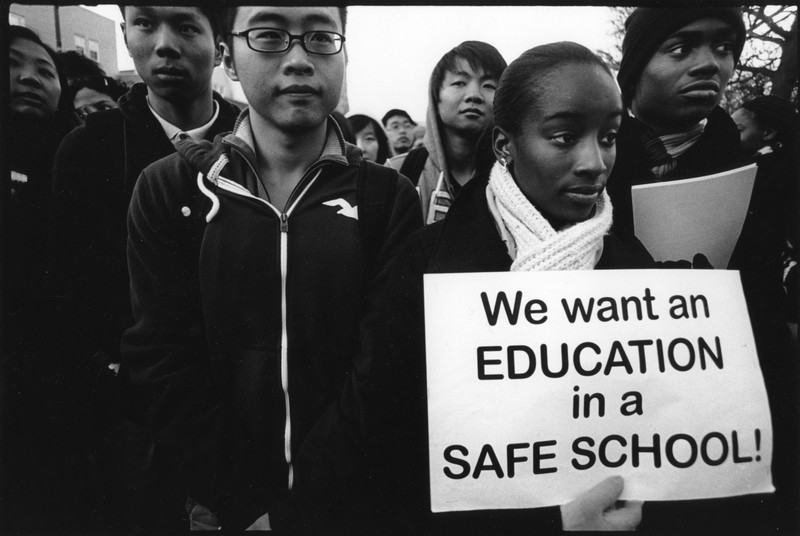 """""""We Want Education in Safe Schools"""" rally, Philadelphia, 2010, photograph by Harvey Finkle"""