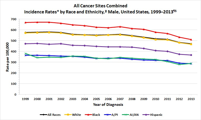 Cancer Incidence Rates by Race/Ethnicity and Sex - Males