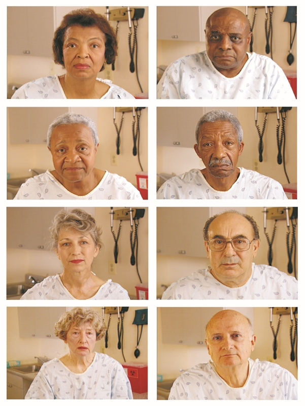 Video stills of actors from the 1999 study regarding differences in treatment between whites and blacks for heart symptoms