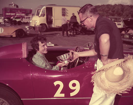 Audrey Saffel accepting her trophy for winning the Belle's Classic race