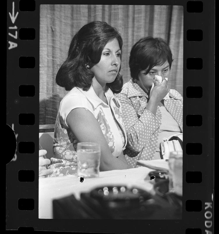 Community spokesperson Gloria Molina with plaintiff Dolores Madrigal announcing the class action suit against the Los Angeles County-USC Medical Center, June 19, 1975