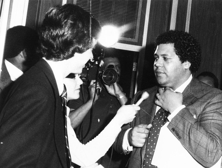 Mayor Maynard Jackson speaking with reporters after negotiations with AFSCME leaders, Atlanta, Georgia, March 16, 1976.