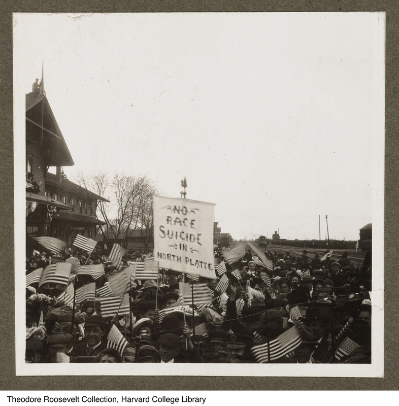 Anti-immigration rally during a visit to North Platte, North Dakota by President Theodore Roosevelt, May 9, 1905