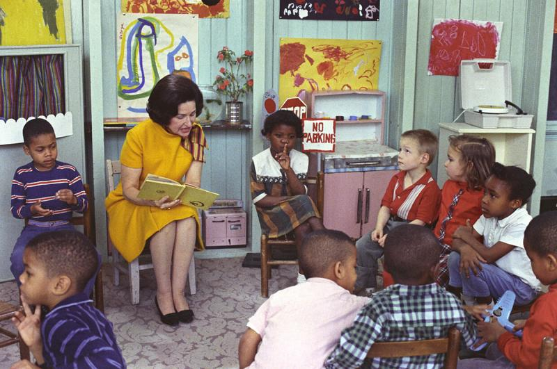 First Lady, Lady Bird Johnson visiting a Project Head Start classroom, March 19, 1966