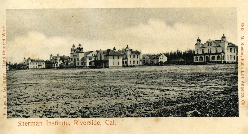 Sherman Institute, Indian School, Riverside, California postcard, 1905