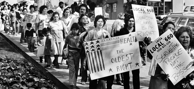 """&amp;quot;Marchers outside the County Hall of Administration protest plans to cut health care budget by $100 million,"""" Los Angeles, June 13, 1981, photograph by Michael Haering&lt;br /&gt;<br />"""