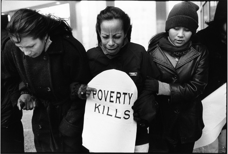 """Poverty Kills"" protest organized by the Kensington Welfare Rights Union, Philadelphia, 1998"