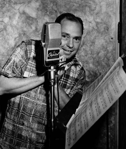 Johnny Mercer with Capitol Records microphone, circa 1950s