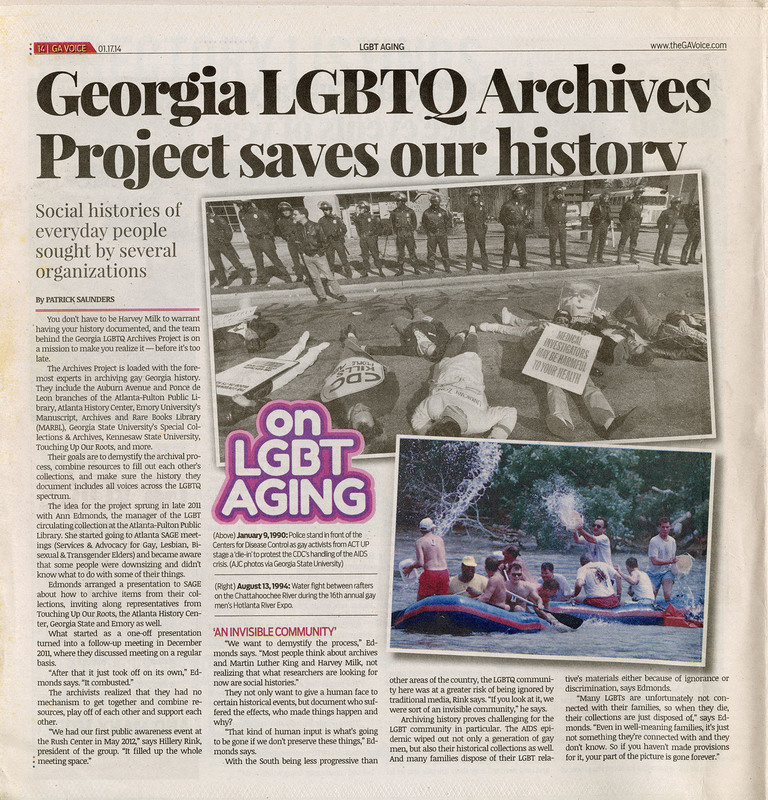 """Newspaper clippings -- """"Georgia LGBTQ archives project saves out history"""""""