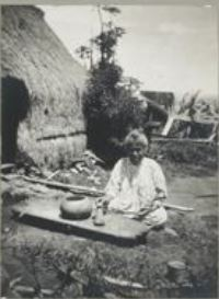 Woman making poi in Hawaii, ca. 1903