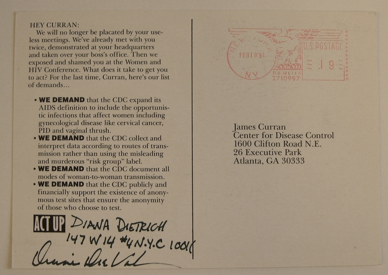 ACT-UP (HIV/AIDS) postcards sent to Jim Curran