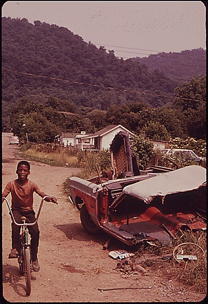 Rand, WV., With Much of its Population Living in Poverty, has Many Unpaved Roads, Substandard Houses, and Junked Automobiles, 1973, photo by Harry Schaefer