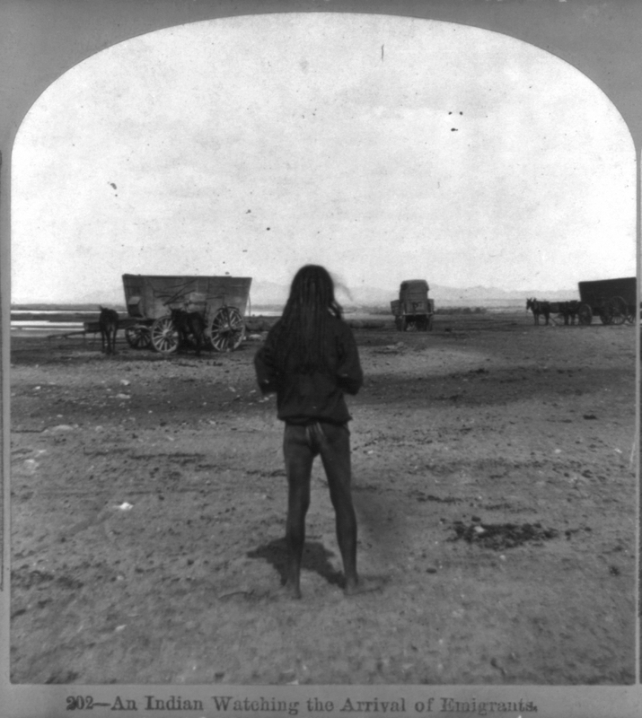 An Indian Watching the Arrival of Emigrants. Stereo image by E. Conklin, Arizona, 1877