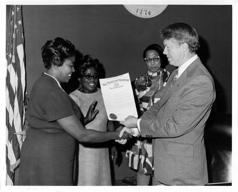 Jimmy Carter presents Maids Honor Day Proclamation to Dorothy Bolden, 1970