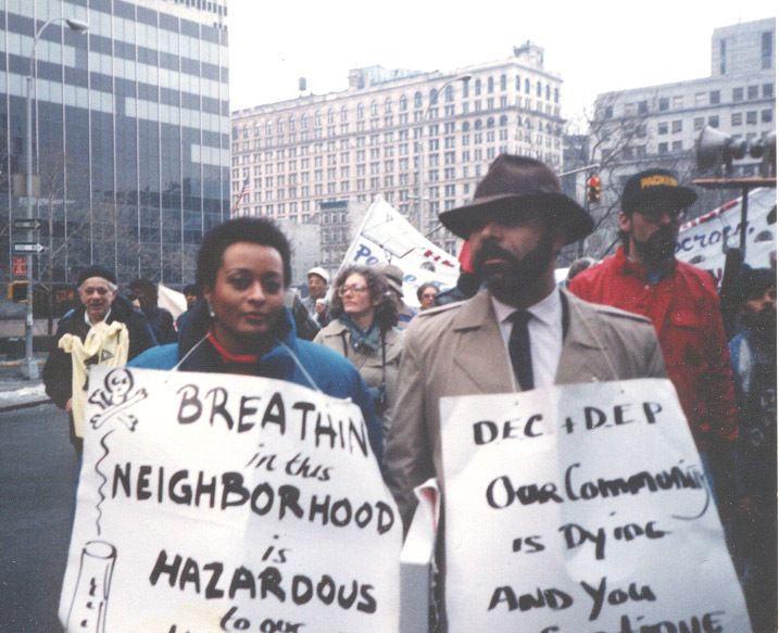 WE ACT co-founders Peggy Shepard and the late Chuck Sutton raising awareness about poor air quality in Northern Manhattan, 1988