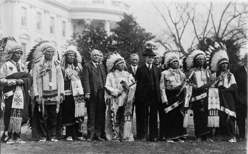 President Calvin Coolidge at the White House with members of the Sioux tribe, 1925&lt;br /&gt;<br />