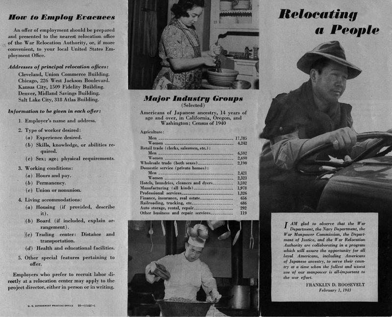 """Relocating a People"" War Relocation Authority (WRA) brochure, February 1, 1943&lt;br /&gt;<br />