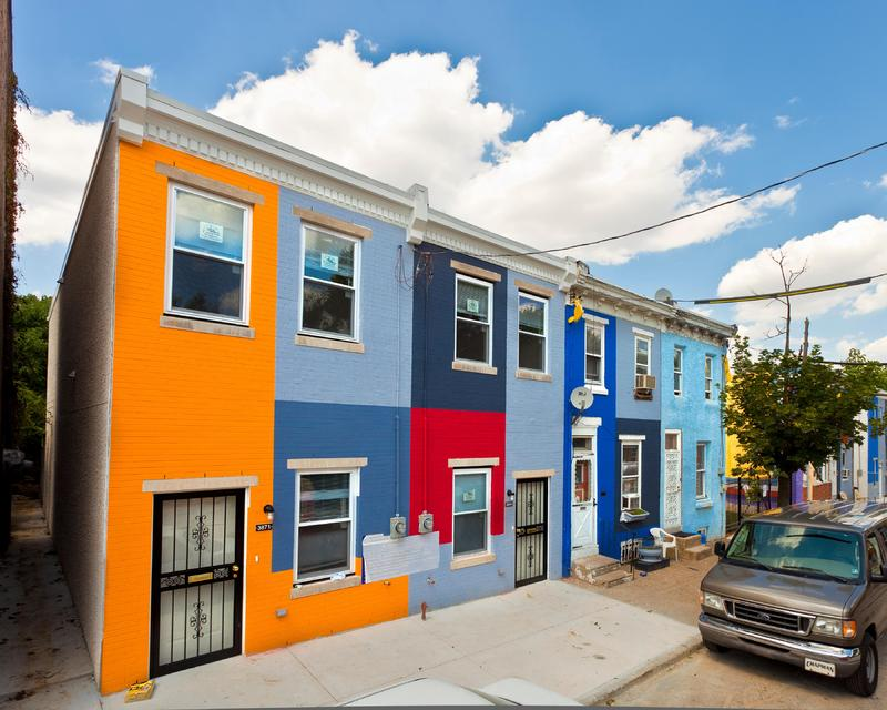 3800 Melon Street, A Place to Call Home community-based project, Philadelphia, 2011, image of painted block, Mural Arts Program