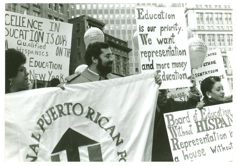 National Puerto Rican Forum protesters calling for Hispanic representation in the schools and in the Board of Education, 1970s