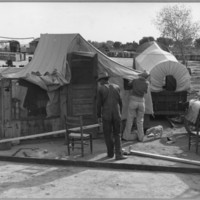 Chandler, Maricopa County, Arizona. Cotton Pickers Improving Their Housing, From Santa Ana, Coleman County, Texas, photo by Dorthea Lange, 1940