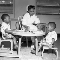 Nurse Grace Kyler working with polio victims at the FAMU Hospital in Tallahassee.