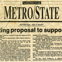 """Newspaper clipping -- """"Minister drafting proposal to support resolution"""""""
