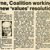 """Newspaper clipping -- """"Byrne, coalition working on new 'values' resolution"""""""