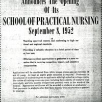 """NEWSPAPER: """"Grady Memorial Hospital Announcing The Opening of its School of Practical Nursing"""""""