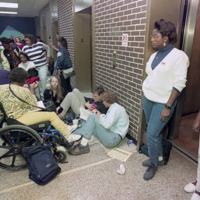 Georgia State University students stage a sit-in at Sparks Hall after a racial slur was written on a campus trash can by a fraternity member, 1992
