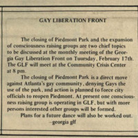 """Newspaper clipping -- """"Gay liberation front"""""""