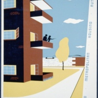 Live here at low rent - Lakeview Terrace, 1340 West 28th St. at Main Avenue bridge, graphic by Stanley Thomas Clough, 1936