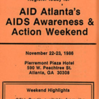 """Flyer -- """"AID Atlanta's AIDS Awareness and Action Weekend"""""""