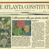 """Newspaper clipping -- """"Cobb prayer rally, gay picnic mostly peaceful"""""""
