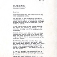 Letter from Nachman-Rhodes, Inc. to Don Naylor, WGST, May 7, 1940
