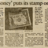 """Newspaper clipping -- """"Gay money puts its stamp on Cobb"""""""