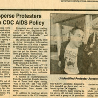 "Newspaper  clipping -- ""Police Disperse Protesters To Atlanta CDC AIDS Policy"""