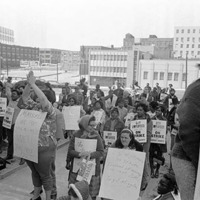 Atlanta Garbage Strike, 1970. Strike march in downtown Atlanta, Georgia, March 28, 1970. Part of a series of photos labeled &quot;Strike march.&quot;<br />