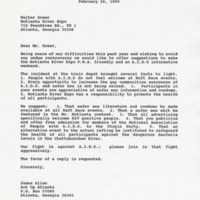 Letter to Walter Greer from James Allen