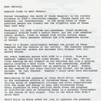 Letter from James Allen to the Editors of the Atlanta Constitution describing the hardships of AIDS patients and the unsympathetic residents of Druid Hills towards them.