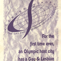 """Program -- Center Stage, Gay and Lesbian Visitor's Center: """"For the first time ever, an Olympic host city has a Gay  & Lesbian Visitor's Center"""""""