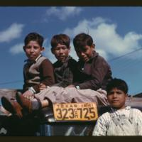 Latino boys sitting on truck at migrant labor camp, Robstown, Texas, 1942