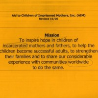 Mission statement of Aid to Children of Imprisoned Mothers, Inc. (AIM)