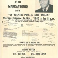 International Workers Order poster announcing a talk by Congressman Vito Marcontonio on the need for a hospital for Lower Harlem,