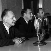 Atlanta Braves sportscasters with WSB microphones