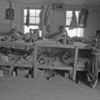 Cramped El Bracero living quarters, photograph by Leonard Nadel, 1956