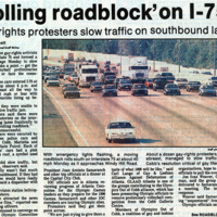 """Newspaper clipping -- """"'Rolling roadblock' on I-75"""""""